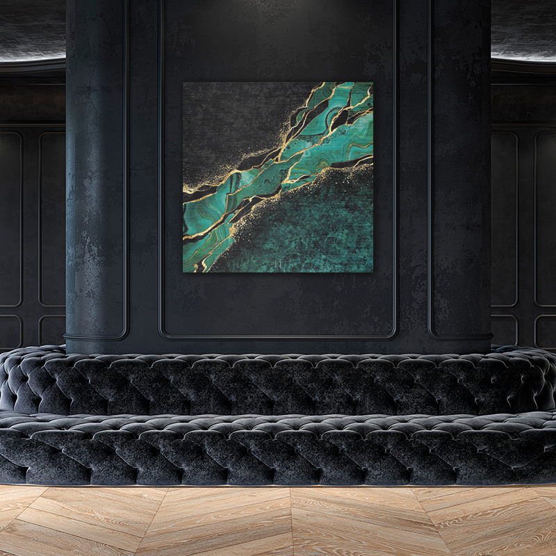 ToF Abstract Black Marble Green With Golden Veins vierkant