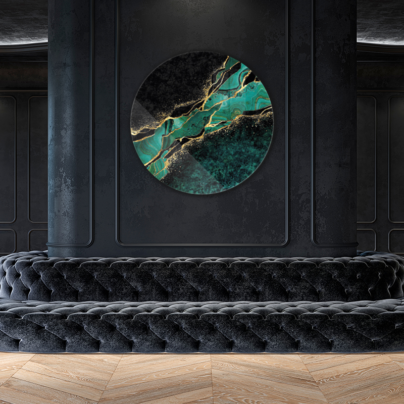 ToF Abstract black marble green with golden veins rond