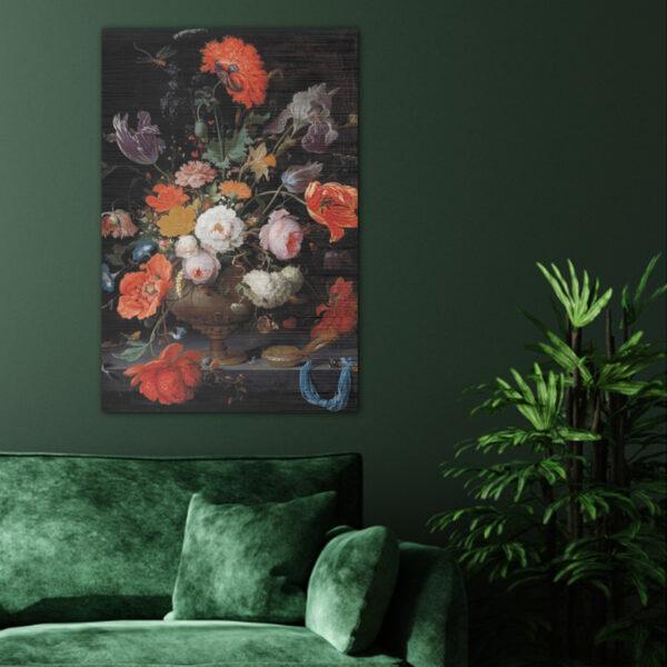 ToF Stilleven met bloemen en een horloge staand