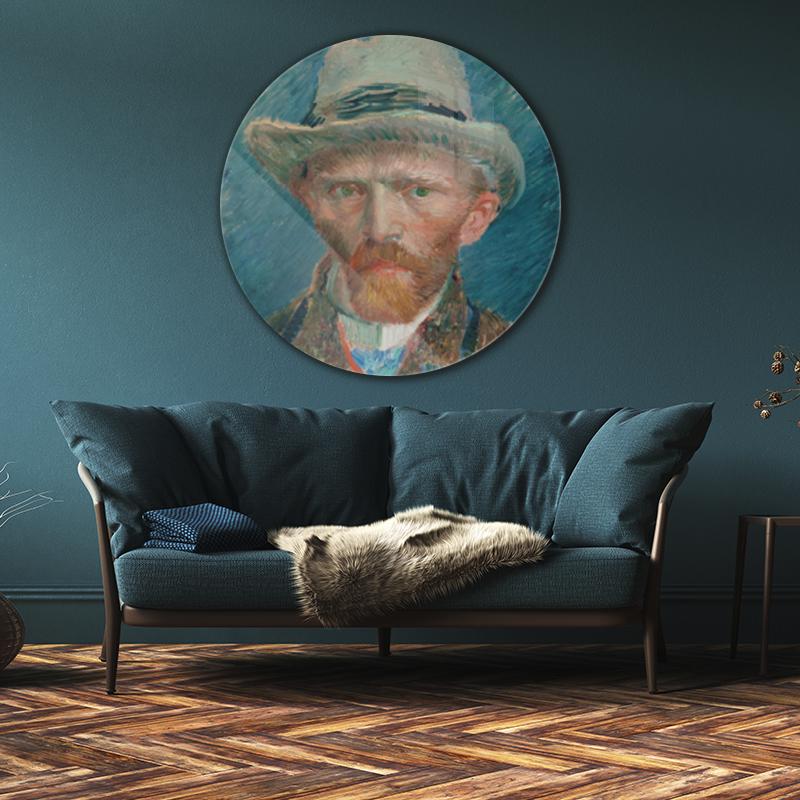 Zelfportret Vincent van Gogh op plexiglas rond.jpg