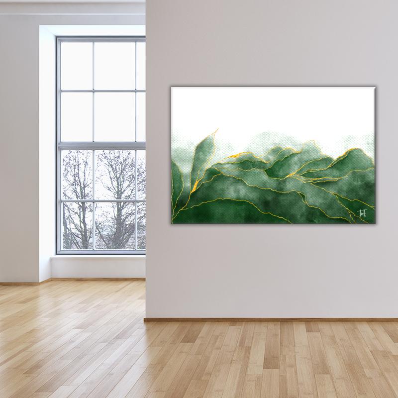 ToF Green aquarel with golden veins liggend