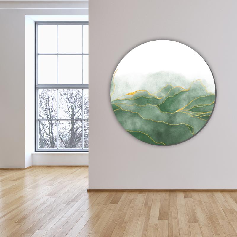 ToF Green aquarel with golden veins rond