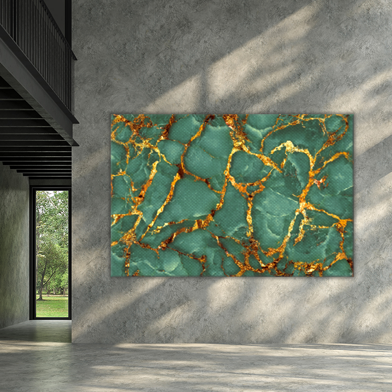ToF Luxurious dark green marble texture with golden veins liggend